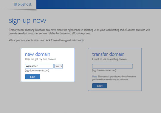 domain and web host sign up step 2 - choose a domain