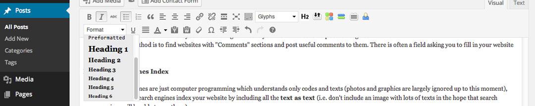 subheading formatting