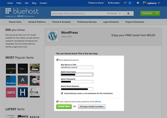 install WordPress step by step