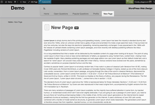 WordPress add new page step 3